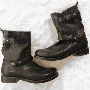Rag & Bone Black Leather Moto Boots Size 7 (37)